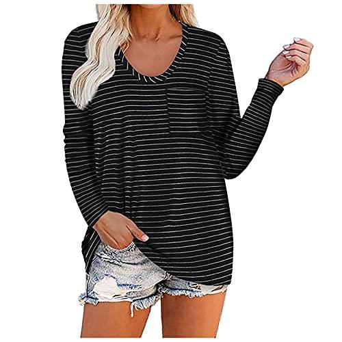 Nuevo 2021 Camiseta Manga Larga de mujer, Casual Raya Impresión Blusa Elegante camisa con bolsillo Cuello redondo basic Cómodo Camiseta Largo Suelto Tops fiesta otoño primavera T-Shirt original