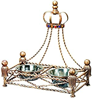 Luxury Iron GOLD CROWN Dog Cat Pet FEEDER Dish Bowl Jeweled Antique Victorian