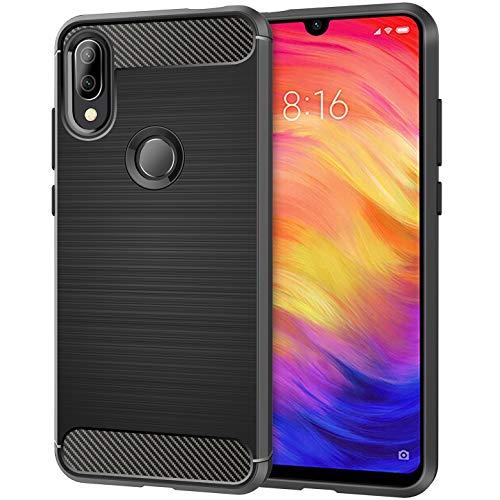 Blukar Funda Xiaomi Redmi Note 7/7 Pro, Carcasa Case Caso TPU Suave Silicona Anti-Arañazos Antideslizante Absorción de Choque para Xiaomi Redmi Note 7/7 Pro (Negro Mate)