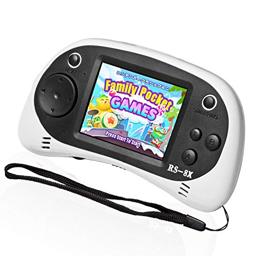 EASEGMER Kids Portable Game Player, RS-8X 16 Bit HD Handheld Game Console Built-in 42 Classic Games 2.5 Inch Retro Video Games Console (White-1)