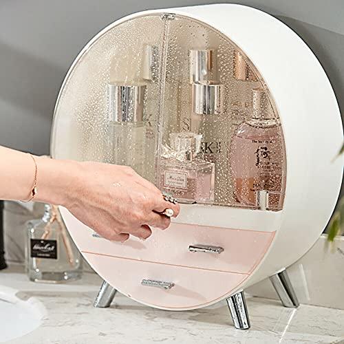 TUOKERound Cosmetic Rack Makeup Organiser,Multifunctional DisplayFeatured Dustproof Storage Box Case with Drawers, Waterproof Great Capacity Holder For Lipstick, Bedroom (Pink, 29.5 x 15.5 x 34cm)