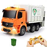 DOUBLE E Remote Control Garbage Truck Toy Electric Waste Management Recycling Truck Toy Set with Trash Can LED Lights 2.4Ghz Rechargeable Toy Trucks Trash Truck for Boys Girls Kids
