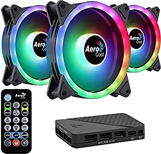 Aerocool DUO12PRO, Kit 3 Ventiladores 120mm, ARGB LED Dual Ring, Antivibración