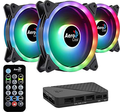 Aerocool DUO12PRO, Kit 3 Ventiladores 120mm, ARGB LED Dual Ring, Antivibración