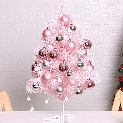 Nuxn 2ft Mini Pink Artificial Christmas Tree Tabletop Christmas Tree with Led Lights and Glitter Balls PinkChristmas Tinsel TreeXmas Tree Home Wedding Decoration