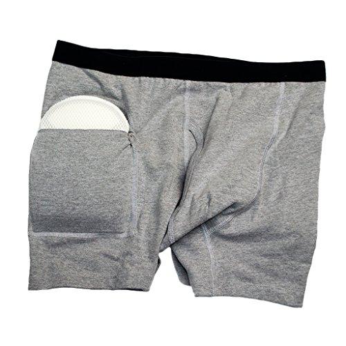 joyMerit Herren Unterhosen mit Hüftschutz Hüftprotektor-Slip - Grau, L