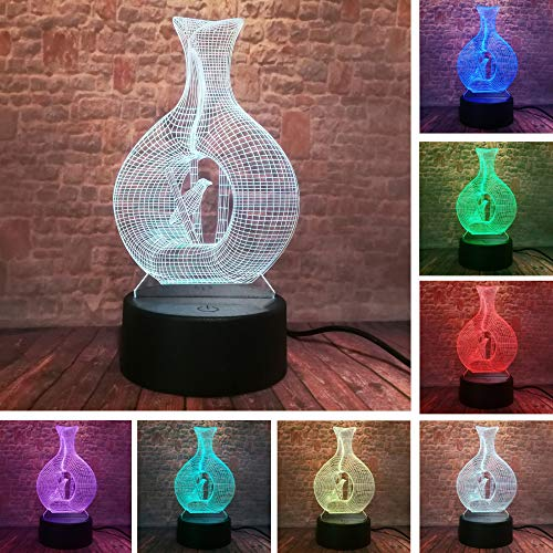Wangzj 3d led vogel lampe vogelkäfig nachtlicht 7 farbwechsel farbverlauf tisch schlafzimmer wohnkultur weihnachten kind geschenke/lava effekt touch