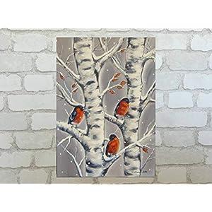 Acrylgemälde DOMPFAFFE AUF VERSCHNEITEN BIRKENÄSTEN – Winterbild auf Leinwand 50cm x 70cm