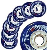 Hyper Wheels Concrete +G - 8 Wheels - 84A - N1 Inline Skate Wheels in The World - 72MM, 76MM, 80MM Sizes - for Fitness, Freeride, Slalom, Urban (Reflex Blue, 76MM)