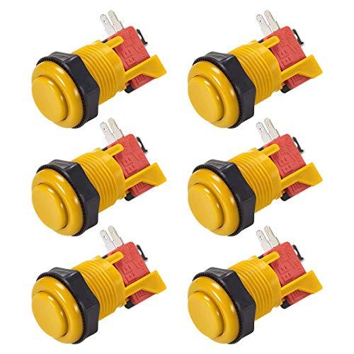YeVhear 27 mm agujero de montaje interruptor con botón pulsador de juego momentáneo con microinterruptor para juegos de vídeo arcada amarillo 6 piezas