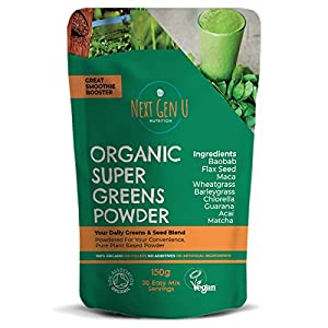 Organic Super Greens Powder 150g - Featured in The Vegan Magazine   Vegan Superfood Blend Supplement  Includes Maca, Matcha, Wheatgrass, Acai, Flaxseed  Vegan Society and Soil Association Certified