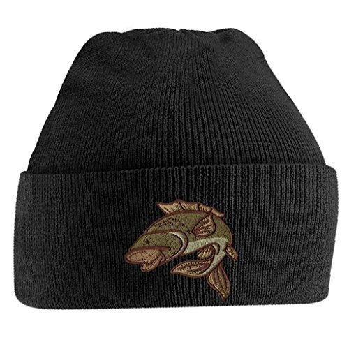 Bang Tidy Clothing Carp Fishing Angling Hobbie Winter Fathers day Embroidered Beanie Hat Logo Men's - Black
