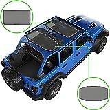 Alien Sunshade Jeep Wrangler JLU (2018-2021) – Front & Rear Mesh Sun Shade for Jeep JL Unlimited - Blocks UV, Wind, Noise - Bikini JLkini Top Cover for Sport, Sport S, Sahara, Rubicon (Gray)