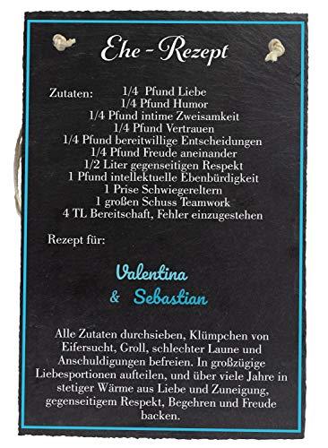 wandmotiv24 Schiefertafel Hochzeit Ehe-Rezept, Aufhängeschild mit Seil 20 x 30cm, Personalisierter Name + Liebesrezept, Digitaldruck, Naturprodukt, Hochzeitsgeschenk Brautpaare, Deko, Verlobung