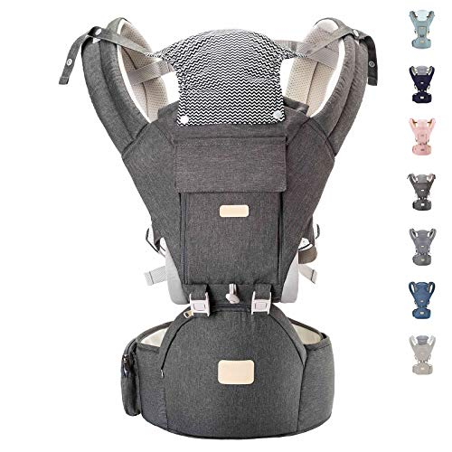 YIYUNBEBE Baby Carriers for All Seasons, 3-in-1 Baby Wrap Carrier with Hip Seat, Baby Carrier Infantino Backpack for Men Women Hiking Shopping Travelling (Dark Grey)