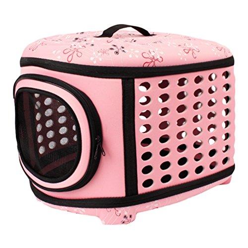 JEELINBORE Stabile Transportbox Sportlich Kleine Transporttasche Hundetasche für Tiere Katze Hunde Faltbare Haustier Tasche (Rosa, L)