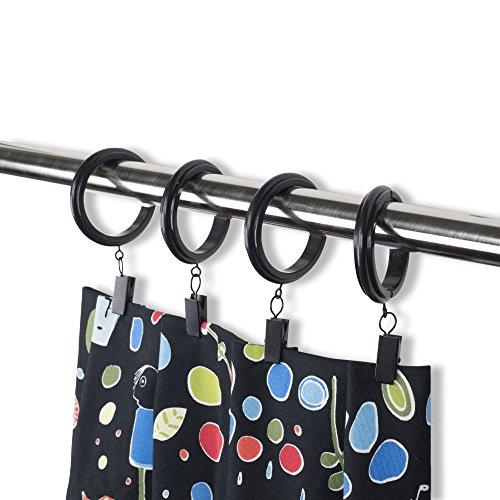 Accesorio de gancho y decorativa de plástico Clip & anillos de cortina con clips–PREMIUM QUALITY, plástico, negro, 1.5 Inches