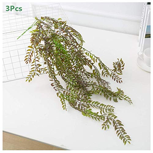 THj 3 Pack Artificial Hanging Vines Plants Plastic Fake Trailing Weeping Ivy Vine Greenery Drooping Plant For Wall Indoor Outside Garden Wedding Hanging Pot Basket Decoration,B