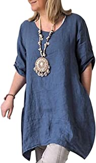 Cicy Bell Women's Cotton Linen Tunic Tops Half Sleeve Summer Loose Fit Casual Dresses