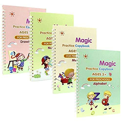 ALTcompluser Libro de copybook mágico reutilizable en inglés, 4 unidades, para escritura a mano, libro de escritura de letras en inglés, libro de libros de escritura sin bolígrafo