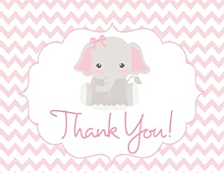 25 Pink Elephant Thank You Cards w/Envelopes 4.25x5.5