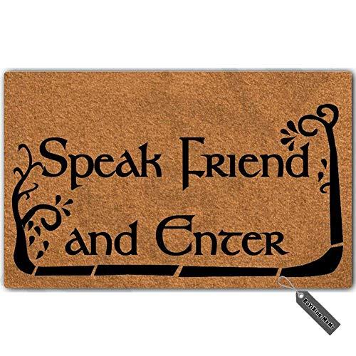 "MsMr - Felpudo de entrada con texto en inglés ""Speak Friend and Enter"" (23,6 x 39,9 cm)"