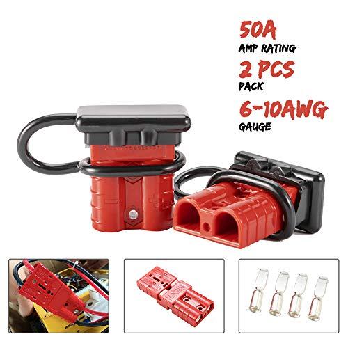 燃料工业6-10规格50A电池快速连接/断开线束插头套件电池电缆快速连接断开插头用于恢复绞车拖车汽车摩托车电子设备2件