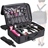 MVPOWER Makeup Train Case 3 Layer Makeup Organizer Bag with Shoulder Strap Adjustable Dividers for Cosmetics Makeup Brushes Toiletry Jewelry