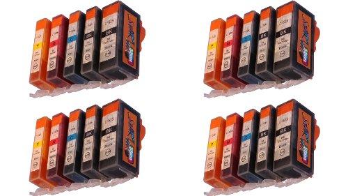 20 Druckerpatronen für Canon mit Chip, ersetzt PGI-525BK schwarz, CLI-526BK schwarz, CLI-526C cyan, CLI-526M rot, CLI-526Y gelb
