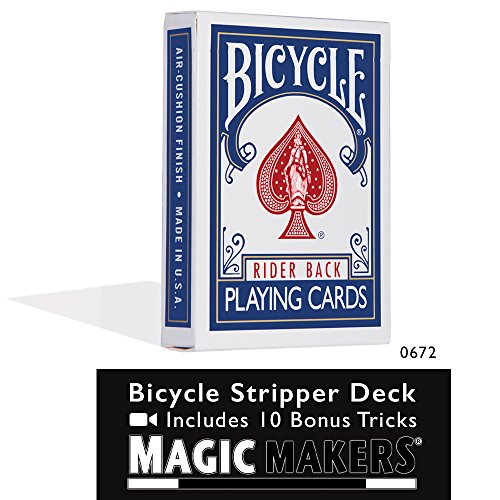 Magic Makers Bicycle Stripper Deck with 10 Bonus Tricks (Blue) - Tapered Magic Trick Deck
