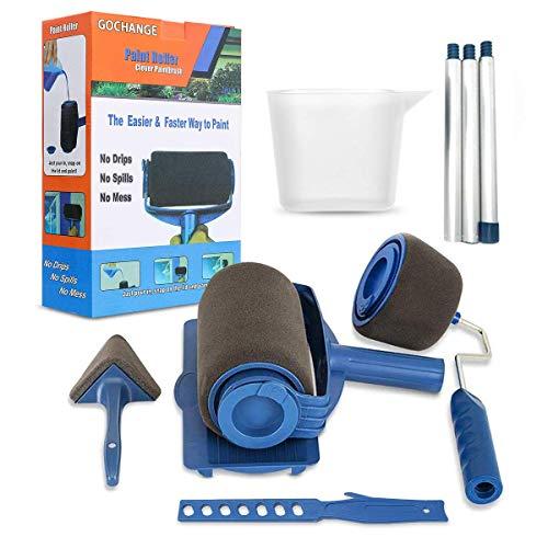 Paint Roller Brush Kit, GOCHANGE 9PCS Wall Printing Brush kit with Paint Runner Pro Brush, Wall Printing Brush, 3 Telescopic Poles, Handle Flocked Edger Painting Walls and Ceilings
