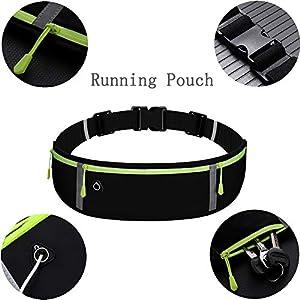 Adjustable Running Pouch, Runners Belt Workout Waist Bag Elastic Slim Running Belt Phone Holder Fanny Pack for Unisex, Jogging Pocket Belt for iPhone