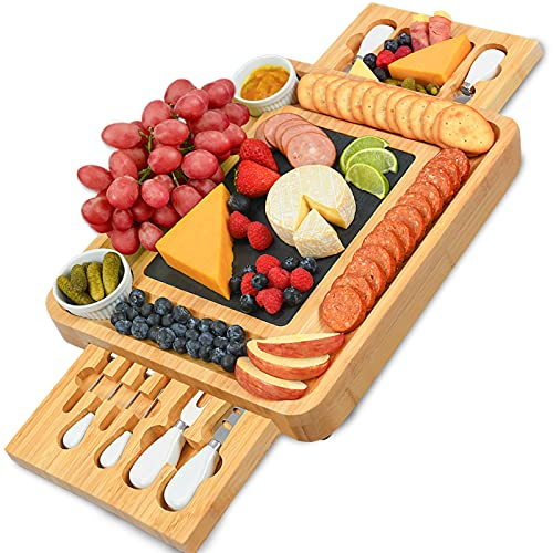 CTFT Cheese Board and Knife Set Bamboo Charcuterie Boards Serving Platter with Slate Plate -Cheese Platter Board, Cheese Board with Cutlery Set, Cheese Tray, Wooden Cheese Board Set, Cutting Board