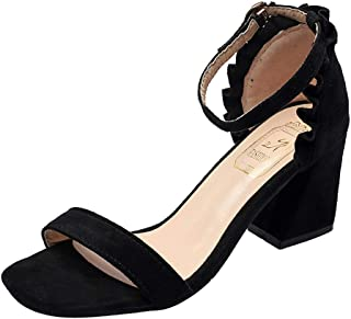 Women Ankle Strap High Heel Sandals ❀ Ladies Open Toe Chunky Thick Heels Party Dress Sandals