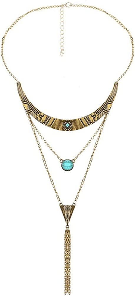 NextStone Vintage Multi-Layer Alloy Long Tassel Necklace Bead Pendant bib Chain Collar Necklace Women Jewelry
