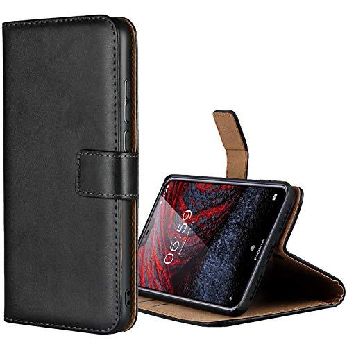 Aopan Nokia 6.1 Plus Hülle, Flip Echt Ledertasche Handyhülle Brieftasche Schutzhülle für Nokia 6.1 Plus, Schwarz