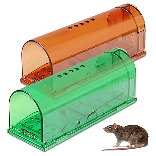 Yirilan Traps Humane,Live Traps Smart Traps No Kill Catch and Release Reusable for Indoor 0utdoor, Safe Around Kids and Pets,2 Pack