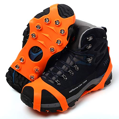 11 Spikes Crampons, Upgraded Version Stainless Steel Anti-Slip Microspikes, Ice Cleats Grips for Hiking Shoes and Boots, Hiking Fishing Walking Mountaineering (Orange, Large:Men(10-13.5)/EU:44-48)