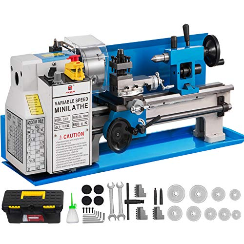 "BestEquip Metal Lathe 7"" x 14"",Mini Metal Lathe 0-2250 RPM Variable Speed,Mini Lathe with 4"" 3-jaw Chuck,Bench Top Metal Lathe, Benchtop Lathe, for Various Types of Metal Turning"