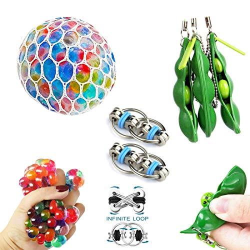 cheap4uk Sensory Toys Sets 6 unidades, juguetes Fidget para niños y adultos autismo Fiddle Juguetes para TDAH, bolas de malla, cadena Flippy y juguetes de estrés de soja