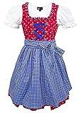 Maddox Zillertal - Traje de Tirolesa para niño, 3 Piezas, Color Rojo y Azul Conjunto de Traje Regional para niña, Vestido Delantal Blusa Rojo, Azul y Blanco 134 cm