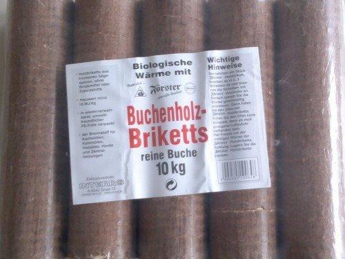 10kg Holzbriketts Buchenholzbriketts Rund Buche Briketts Holz - trockenen Sägespänen ohne Bindemittel & Zusatzstoffe