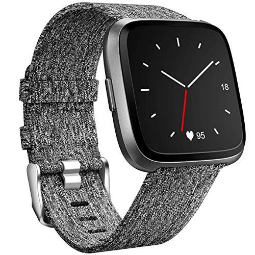 Maledan Compatible with Versa 2 Bands and Versa Bands for Women Men, Soft Woven Fabric Strap Adjustable Wristband for Versa/Versa Lite SE Smart Watch, Small, Charcoal