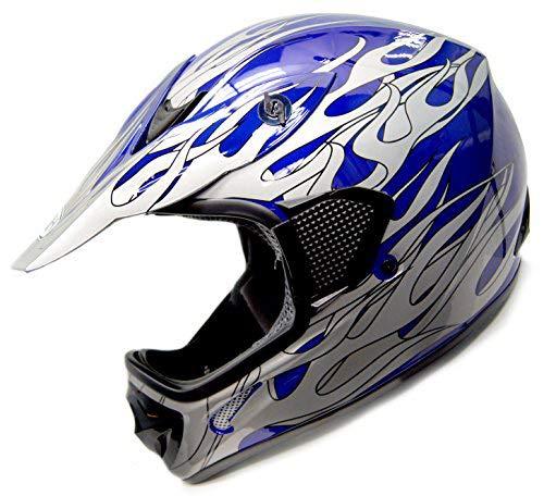 SmartDealsNow - HHH DOT Youth & Kids Helmet for Dirtbike ATV Motocross MX Offroad Motorcyle Street bike BLUE-FLAME (Small)