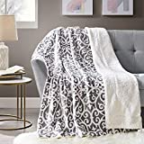 Comfort Spaces Sherpa/Plush Throw Blanket for Couch - 50 x 60 inches Lightweight Cozy Sofa Bed/Couch Throw for Beds Office Lap - Lattice - Gray