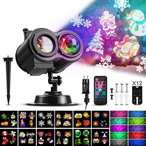 Lampe de projection à LED, projecteur de Noël CAMTOA allumant une lampe de projection étanche à double tête avec 12 motifs modifiables et télécommande, effet de projecteur