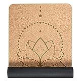 "Cork Yoga Mat with Bag & Strap, 72"" X 24"" X 0.2"" Eco Friendly Lotus Yoga Mats Alignment Marks Designs Home Workout Mats for Men Women, Light Portable Travel Exercise Mats"