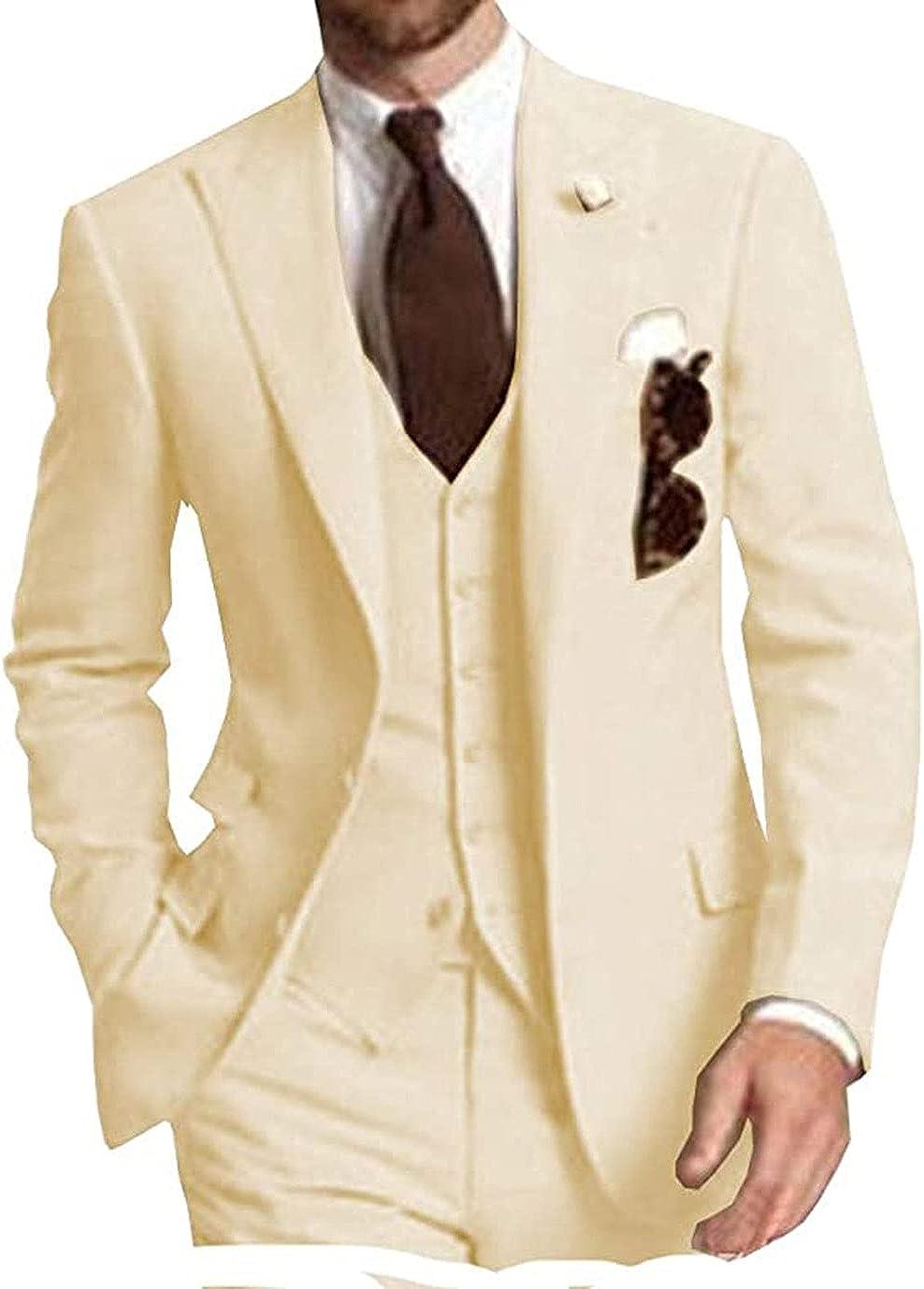 70ILY Business Casual Men Suits-Notched Lapel Groomsmen Tuxedo 3 Piece Wedding Suit for Men