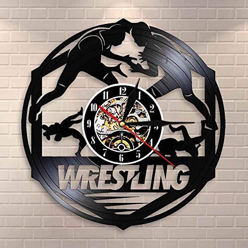 Westlers Grappling Freestyle Lucha Marcial Arte de Pared Reloj de Pared Lucha Libre Combate Deporte Disco de Vinilo Reloj de Pared Regalo de Lucha