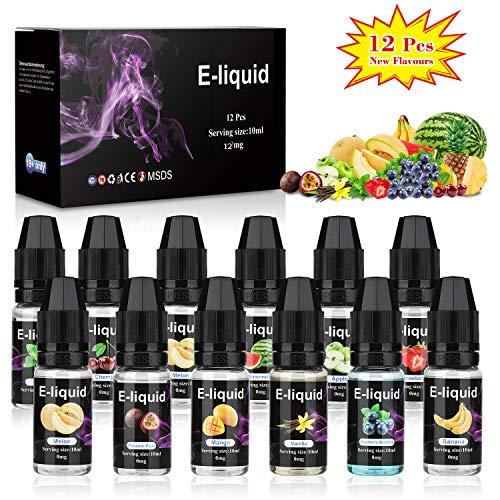 E-Líquido, 12 X 10mL E Liquido Vaper Sin Nicotina, E-Liquid VG70 PG30, Set E-Líquido Para Cigarrillos Electrónicos E Shisha E Hookah | Nuevos Sabores